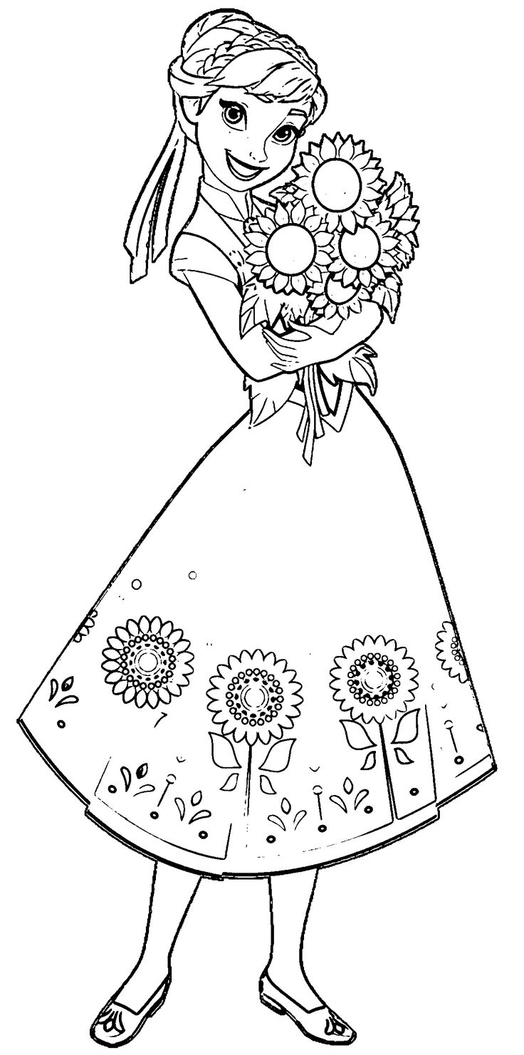 Anna disney frozen coloring pages - Fever Anna Sunflowers Coloring Page Wecoloringpage