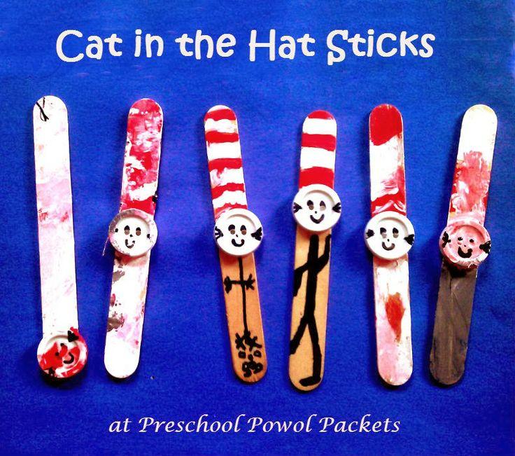 Cat in the Hat Sticks Preschool Craft | Preschool Powol PacketsSticks ...