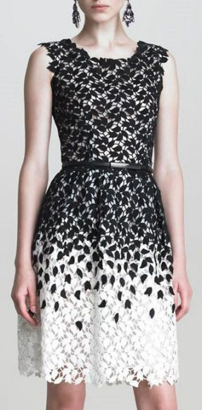 Black + White Ombre Leaf Lace Dress <3 L.O.V.E.
