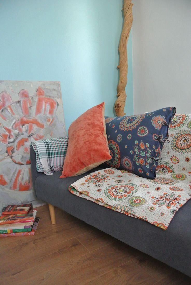 Cotton Suzani bedspread and pillowcase, cotton velvet cushion, handwoven houndstooth blanket