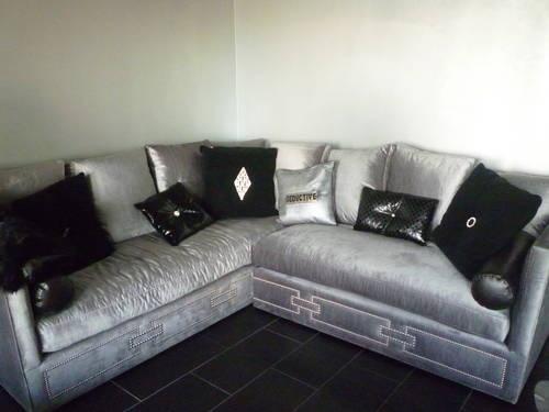 grey velvet sectional sofa | Silver VELVET SECTIONAL - $3,200 | Style  Assembly | Living room | Pinterest |