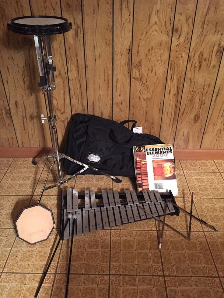 Beginner Drum Pad Percussion Practice Set Carry Case Bells Music Stand CB #CB