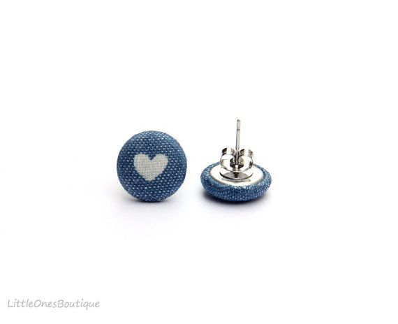 Cute Fabric Button Earrings Denim Blue Buttons by BoutiqueLittleOnes.  Something pretty for a casual day.