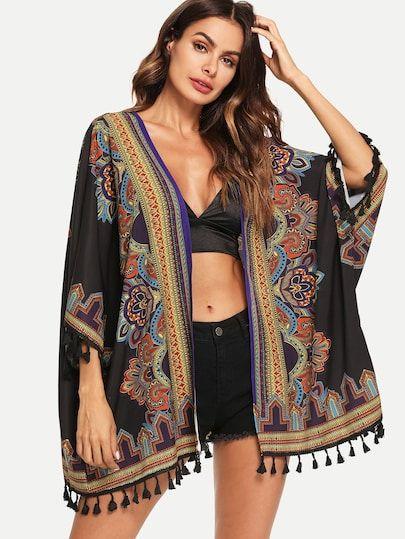 Shop Tribal Print Tassel Embellished Longline Kimono online. SheIn ...