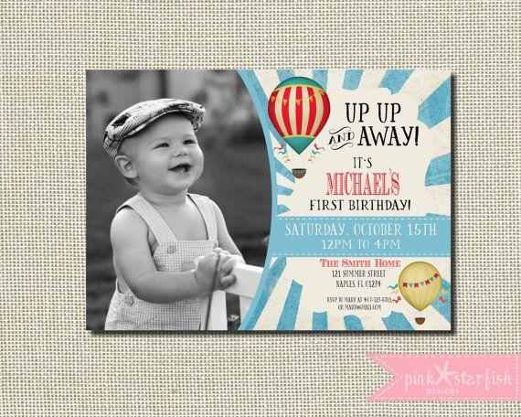 First Birthday Invitation Up Up and Away by PinkStarfishDesigns #ETSY