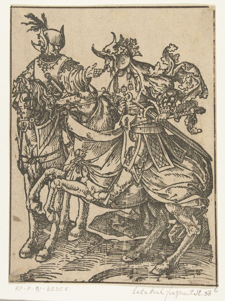 Jacob Cornelisz van Oostsanen   Floris IV en Willem II, Jacob Cornelisz van Oostsanen, 1518   Afdruk van houtblok dat was gebruikt als rechterhelft van een blad. De graven Floris IV en Willem II te paard, zonder wapenschilden en namen.