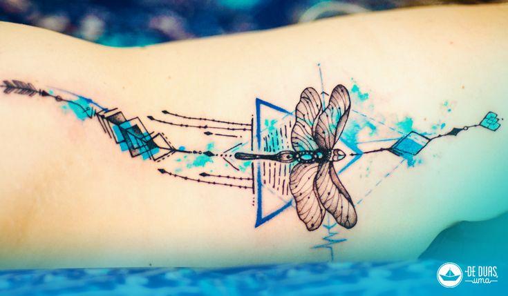 Tattoo aquarela: Libélula - Watercolor dragonfly tattoo ~ De duas, uma   Design, Ilustrações e Tattoos