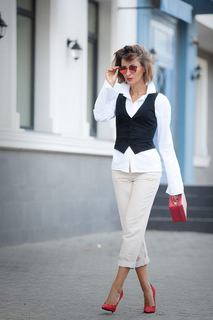suit waistcoat outfit, red suede pumps, mark cross bag, office dress code ideas, fall outfit ideas for office, Ellena Galant, chino trousers outfit,