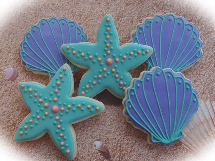 gallery of space themed cookies   Starfish and Seashell Cookies   Cookie Connection