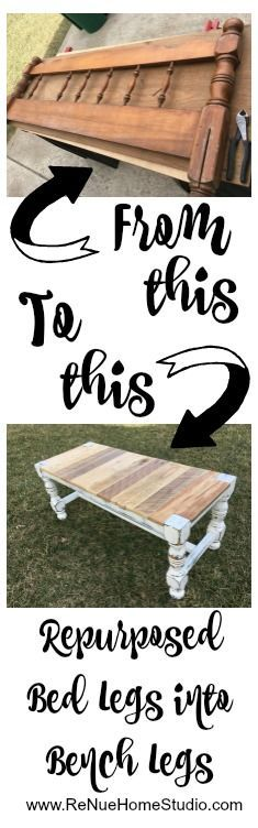 Read our DIY tutorial where we'll show you how we repurposed a headboard and footboard off an old bed frame into legs for a rustic style bench. Farmhouse Style, Rustic, Home Decor, Furniture, Bench, Ottoman, Pallet, Distressed, Turned Legs, Bed Posts, Shabby Chic, Country, Chalk Paint, Sandpaper, Power Tools, Barnwood, Barn Wood, Reclaimed Wood