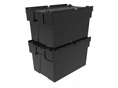 65 Litre Super Strong Recycled Attached Lid Container - Lidded Plastic Storage Box