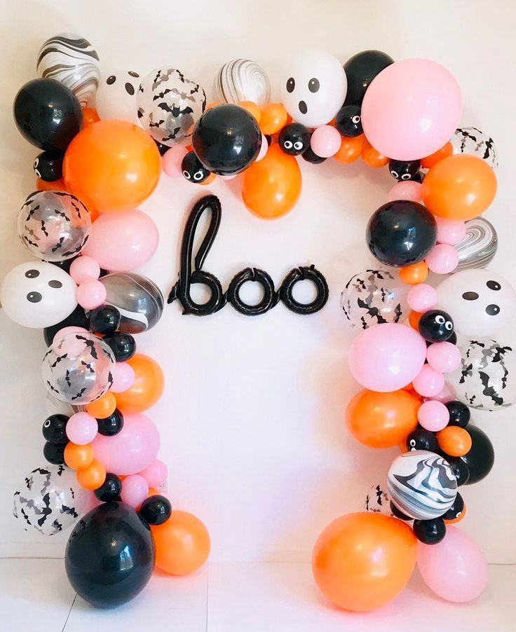 Halloween Balloon Garland, Halloween Latex Balloons, Halloween Balloons, Halloween Kid Parties, Halloween Balloon Arch, Ghost Balloons