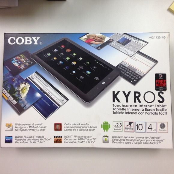 """Brand new! Kyros 10in touchscreen tablet by COBY Brand new in box! Never used! Kyros touchscreen tablet 10 inches, 4 GB, capacitive multi-touch, powered by android, and has camera. Web browse, email, watch YouTube videos, e-book reader, HDMI tv connection. Everything still in box, 10"""" tablet, charger, tv connector, screen cleaning cloth, and cloth protective case! Other"""