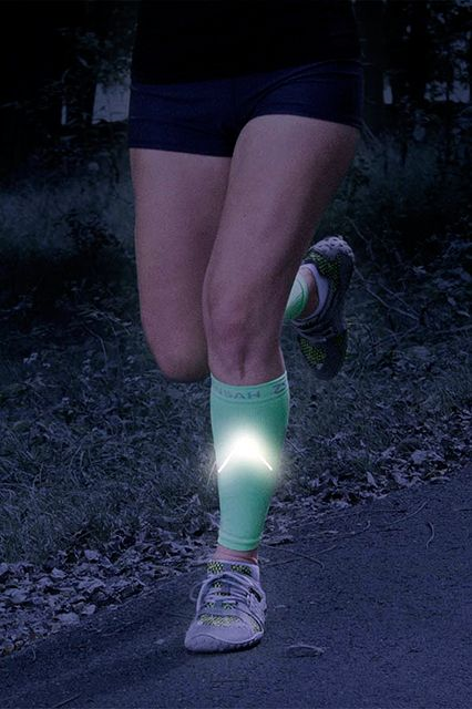 How To Work Out At Night — All The Gear You Need To Stay Safe #refinery29 http://www.refinery29.com/running-at-night-safety#slide16 For fall weather that doesn't call for full-length tights, these compression sleeves add a layer of visibility to your bottom half.