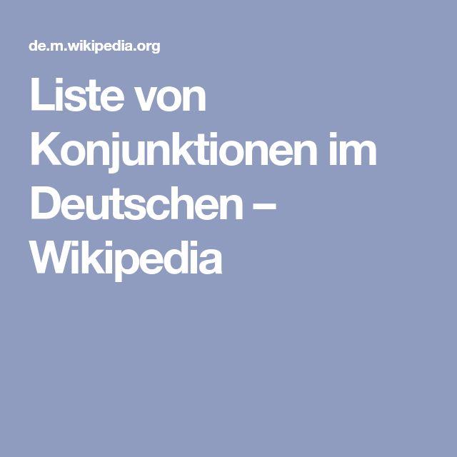 Liste von Konjunktionen im Deutschen – Wikipedia