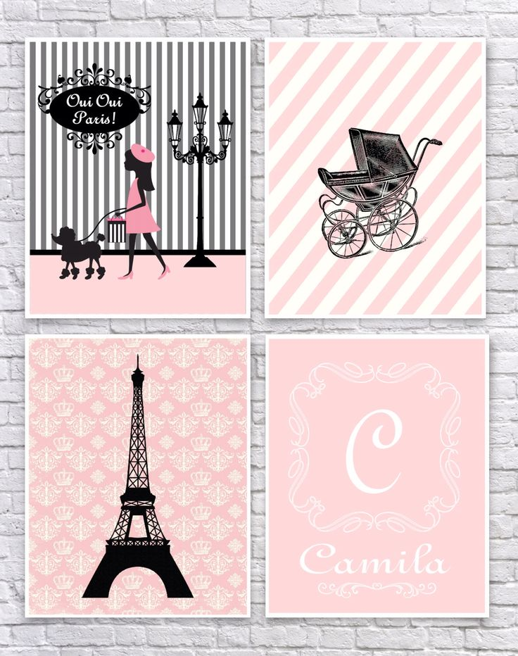 Baby Girl Paris Bedroom Art, French Nursery Wall Art, Paris Nursery Art, Paris Wall Decor, Pink and Black, Monogram,Vintage Baby Carriage. by CreativeArtandInk on Etsy https://www.etsy.com/listing/234860070/baby-girl-paris-bedroom-art-french