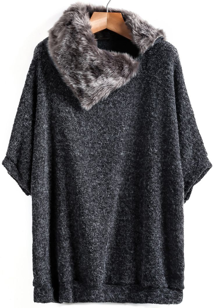 Shop Dark Grey Contrast Fur Loose Knit Sweater online. Sheinside offers Dark Grey Contrast Fur Loose Knit Sweater & more to fit your fashionable needs. Free Shipping Worldwide!