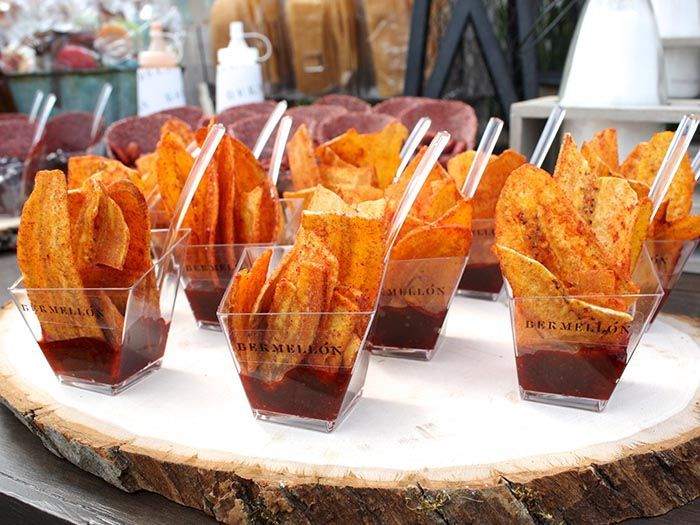 Dehydrated plantain chips with chili lime salt and chamoy salsa: