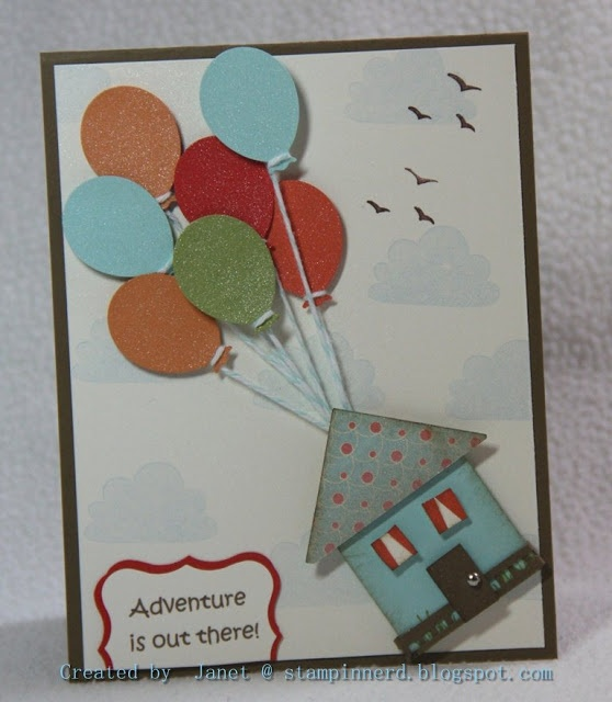 "Moving house card. If you have seen Up then you will know ""Adventure is Out There"" is a line from that movie. Saying was printed with computer then punched out and layered. Balloons were punched with a non-Stampin' Up punch and shimmered The house was made using the Square punch. The clouds were inked using the top of a cupcake from the ""Create a Cupcake"" Set as a mask in Bashful Blue. Pool Party Bakers Twine for the balloons and some birds from the Up, Up and Away set to finish off the…"