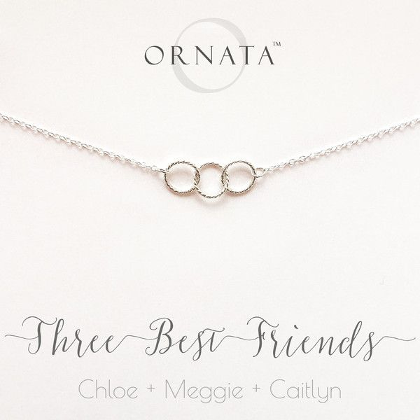 """THREE BEST FRIENDS"" STERLING SILVER NECKLACE ON PERSONALIZED JEWELRY CARD 