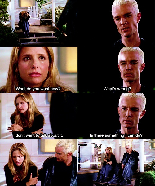 In this scene he was coming to kill her, had no soul, but still all he wanted was to make her happy again. Spuffy forever.