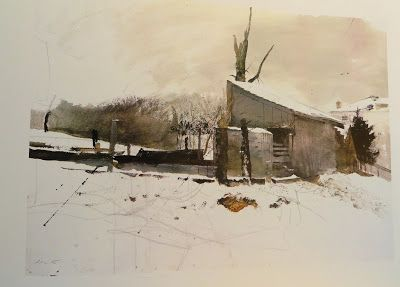 Andrew Wyeth - Realism - Watercolor Landscapes - At the Kuerners
