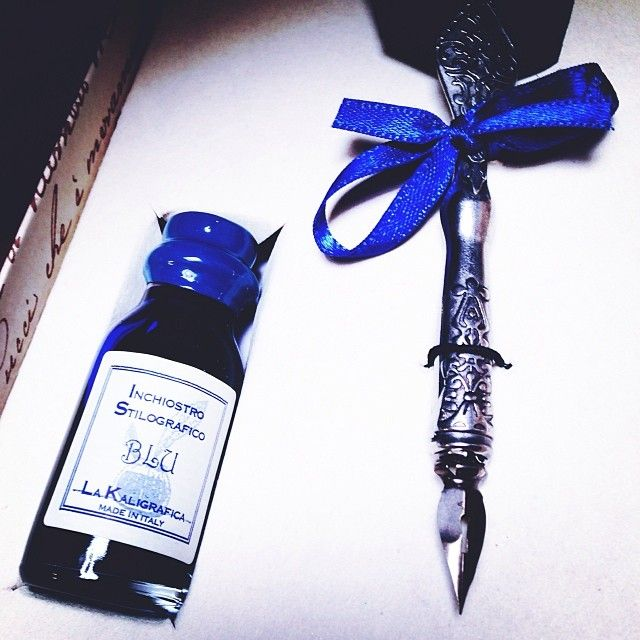 Express your thoughts and idea with this blue goose feather quill! #quill #ink #calligraphy