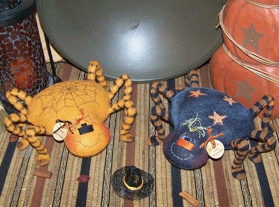 Primitive Folk Art Halloween Sweet Spiders by PrimitivelyPrecious