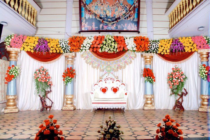 Bangalore stage decoration design 378 flower stage for Hall decoration design
