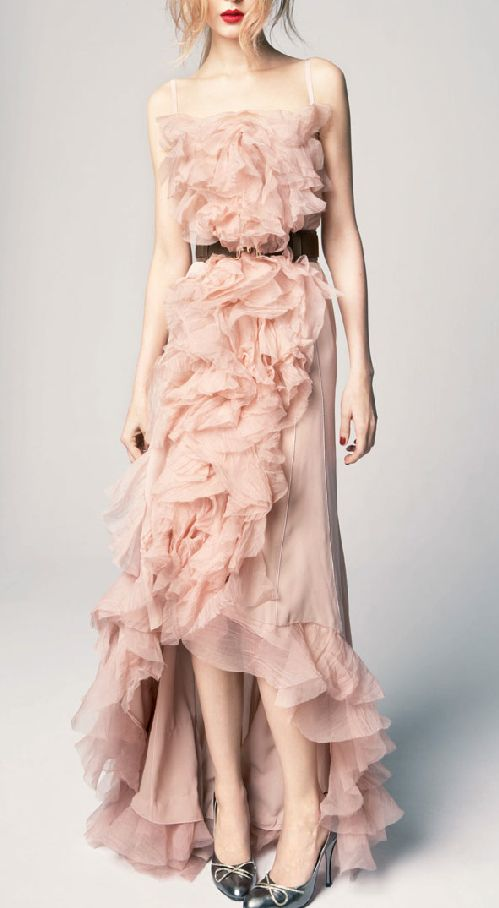 Blush ruffled gown / Nina Ricci  I am not normally a fan of ruffles- but this makes me rethink that!!
