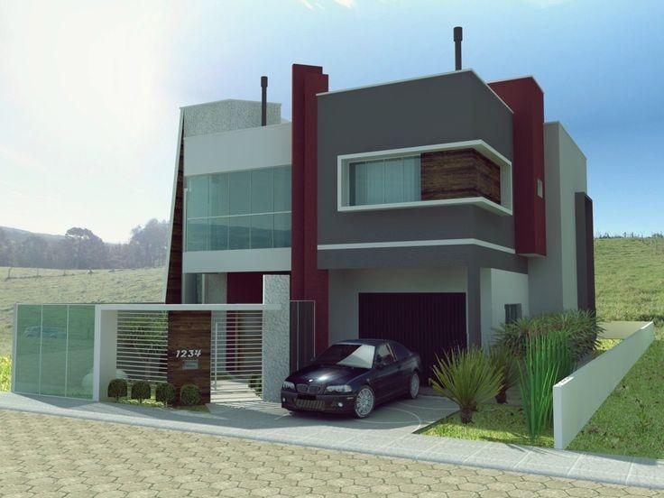 Wallpapers fachada de viviendas casa moderna d aislada en for Viviendas unifamiliares modernas