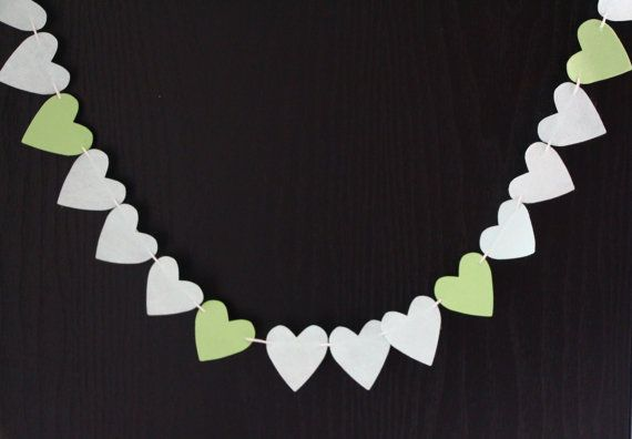 Check out this item in my Etsy shop https://www.etsy.com/listing/221452516/paper-heart-garland-grey-and-green-1m