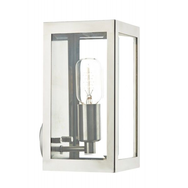 exterior modern lighting. rustic steel box outdoor wall light - rated for safe use. exterior modern lighting