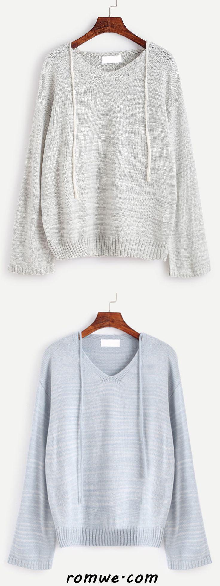 V Neck Drop Shoulder Self Tie Sweater
