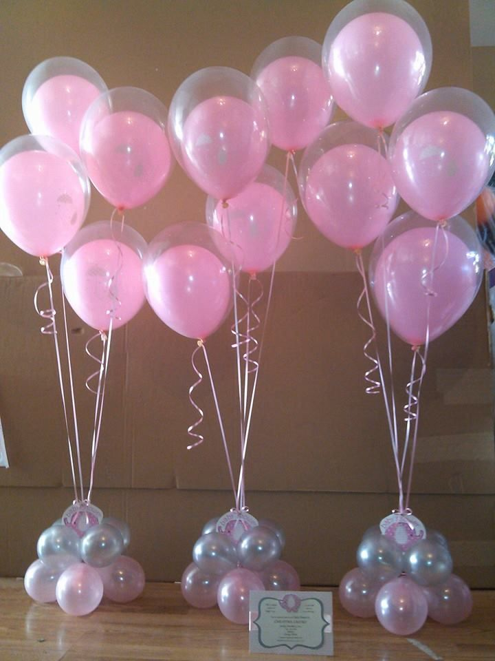 Pink and gold baby shower balloon centerpiece google for Balloon decoration for baby shower
