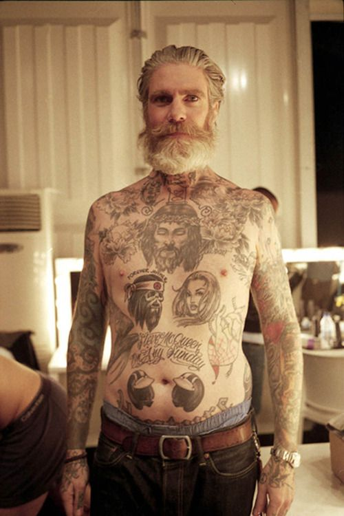 Beautiful bearded older man with lots of tattoos beards for Bearded tattooed man