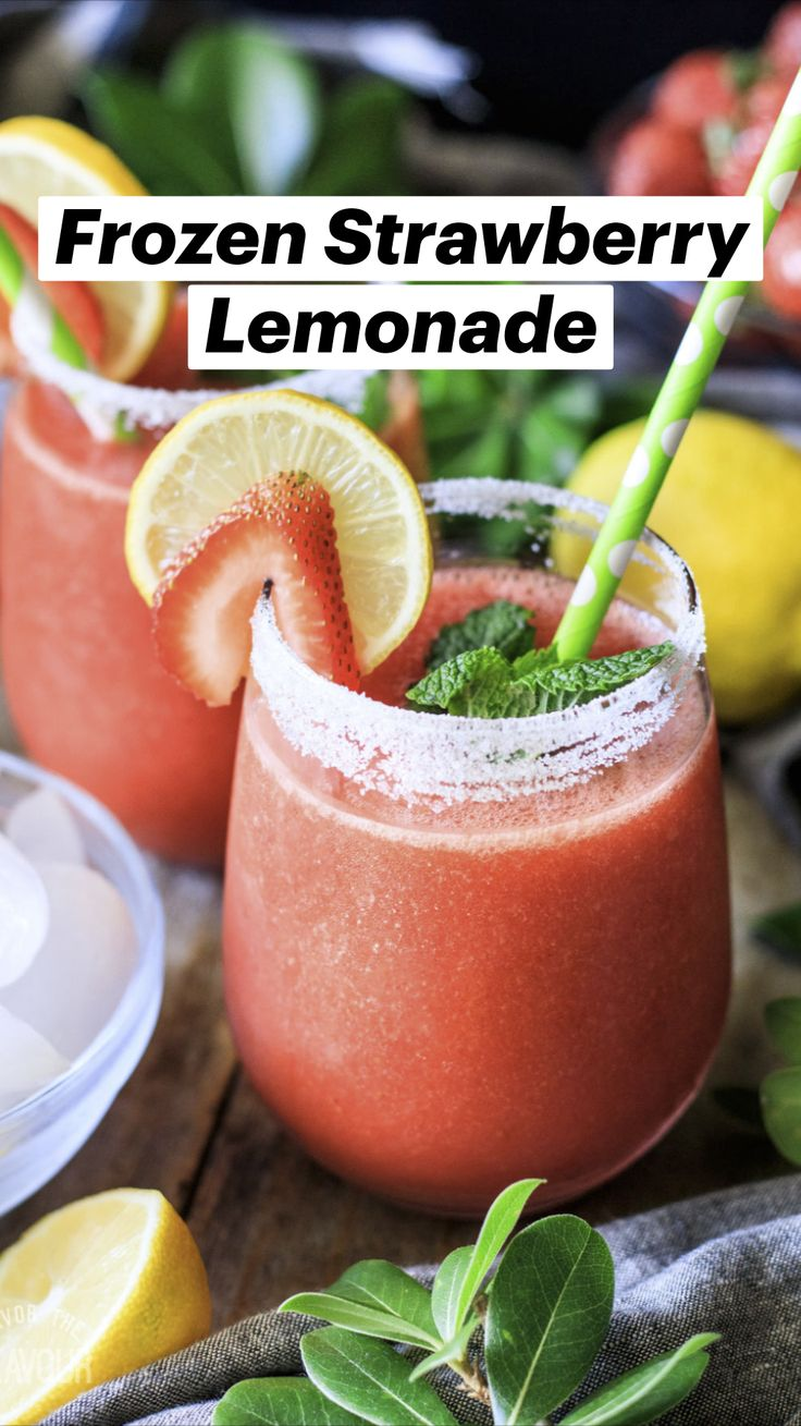 Drink Recipes Nonalcoholic, Alcohol Drink Recipes, Non Alcoholic Drinks, Slushy Alcohol Drinks, Cocktails, Frozen Strawberry Lemonade, Frozen Strawberries, Strawberry Drinks, Food Puns