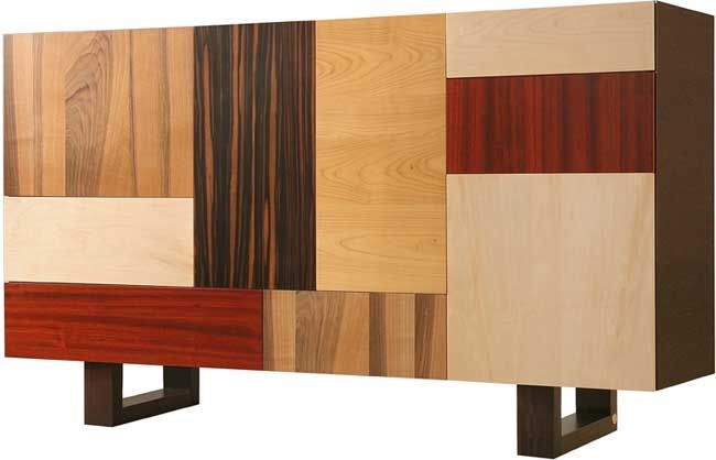 FANTESCA, structure and legs made of wengè, four door and two drawers on a patchwork of woods 180L 42P 105H