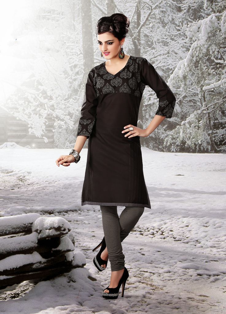 Black color pure cotton Fabric Kurti. This Kurti is decorated with white color print at neck line and sleeves   Rate:- 695/- Only For orders contact +919870725209 or Whtsapp