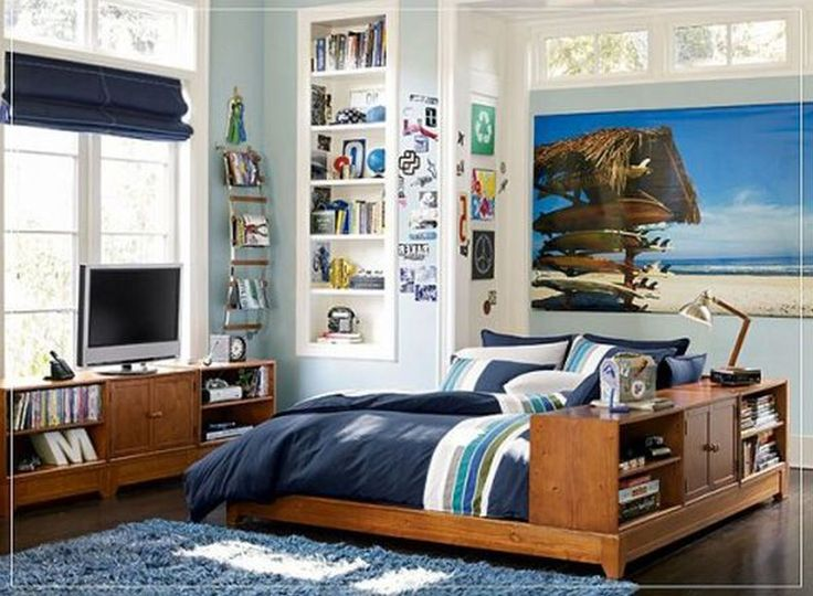 Bedroom, Cool Tween Boys Bedroom Ideas With Nice Wood Bed Frame In Brown  Color On Combined Thick Bed Cover And Cushions On Connected Bookshelv On Du2026  ... Part 80