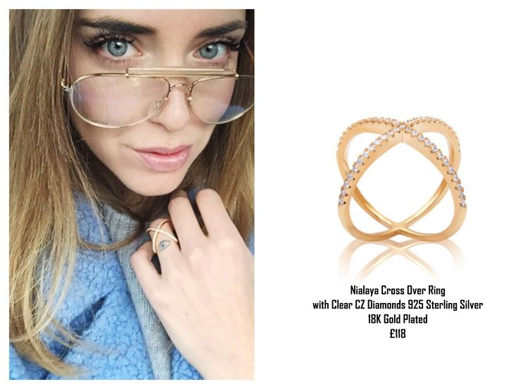 Chiara Ferragni wears a gorgeous Nialaya Cross Over Ring with Clear CZ Diamonds 925 Sterling Silver 18K Gold Plated  £118