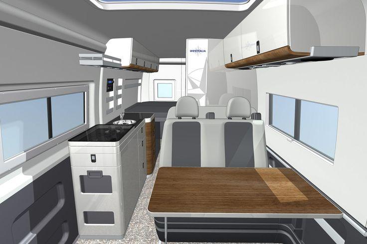 cad rendering of the interior of the westfalia columbus a fiat ducato camper van camper van. Black Bedroom Furniture Sets. Home Design Ideas