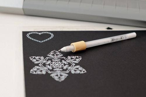 Great idea...use white gell pen in Silhouette for a beautiful card