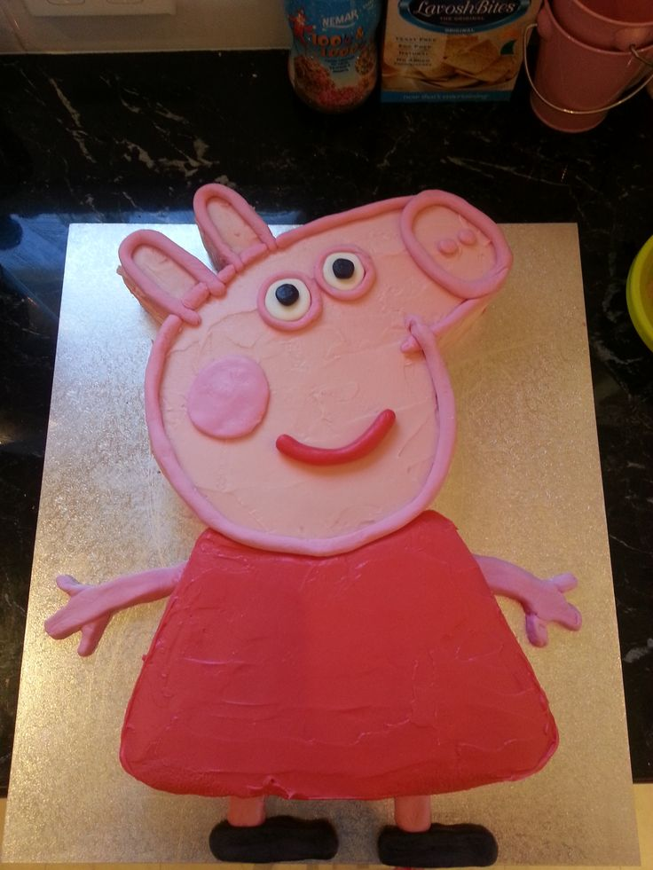 Peppa Pig Cake Minus Her Tail Made With 2 Square Cakes