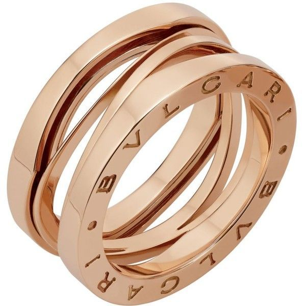 BVLGARI B.zero1 Zaha Hadid three band 18ct pink-gold ring (13,545 CNY) ❤ liked on Polyvore featuring jewelry, rings, pink gold rings, rose gold jewelry, bulgari, rose gold rings and rose gold band ring