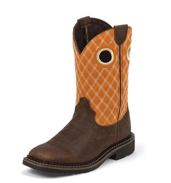 Justin Flame Orange & Rustic Barnwood Stampede Kid's Work Boots