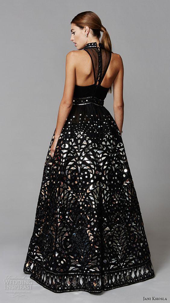 Jani Khosla 2015 bridal evening halter neck black ball gown