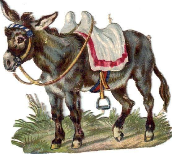 Victorian Die Cut Scrap Fancy Little Donkey c1880