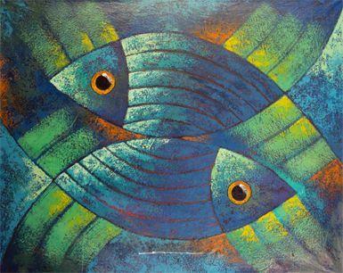 Las 25 mejores ideas sobre pinturas de peces en pinterest - Cuadros con peces ...