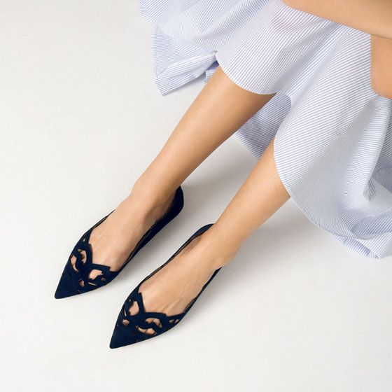 Image 2 of LASER-CUT LEATHER BALLET FLATS from Zara